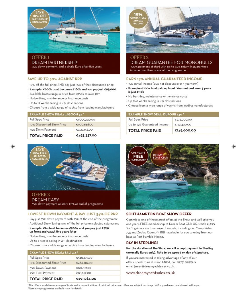 Dream Yacht Sales Ownership Offers