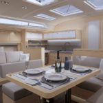Artists impression of interior saloon layout of the Dufour 470